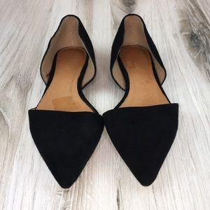 Halogen Black Suede Pointy Toe Flats